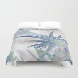 Navy Blue and Blush Pink Palm Leaf Watercolor Painting Duvet Cover