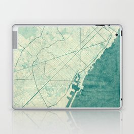Barcelona Map Blue Vintage Laptop & iPad Skin