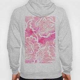 Modern boho pink watercolor white floral mandala  pattern Hoody