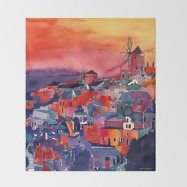 Sunset on Santorini Throw Blanket