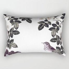 Blackberry Spring Garden - Birds Bees and Flowers Rectangular Pillow