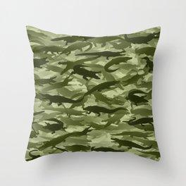Crocodile camouflage Throw Pillow