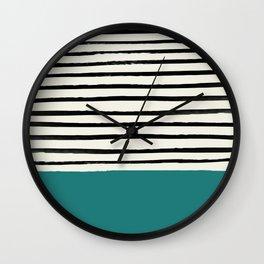 Teal x Stripes Wall Clock