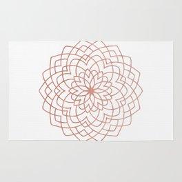 Mandala Blossom Rose Gold on White Rug