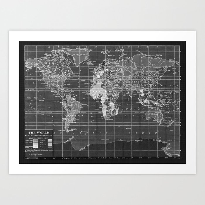 Black and white vintage world map art print by catherineholcombe black and white vintage world map art print by catherineholcombe society6 gumiabroncs Images