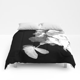 White Orchids Black Background Comforters