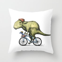 Dino Cycler Throw Pillow