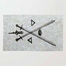 """Monogram """"A"""" - Swords, Eye, Bleeding Heart Flower, & As Above, So Below Arrows Rug"""