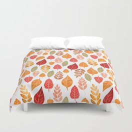 Painted Autumn Leaves Pattern Duvet Cover