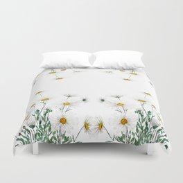 white Margaret daisy watercolor Duvet Cover