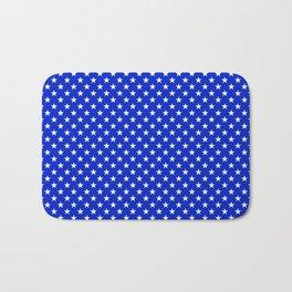 White Stars on Cobalt Blue Bath Mat