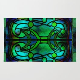 Green and Aqua Art Nouveau Stained Glass Art Rug