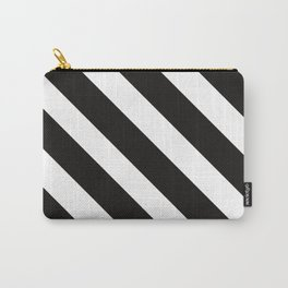 CVS0096 Black and White wide slanted angled stripes Carry-All Pouch