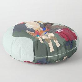 Llama and girl Floor Pillow
