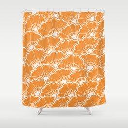 Hand-Drawn Summer Flowers: Orange Shower Curtain