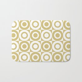 Mid Century Square and Circle Pattern 541 Gold Bath Mat
