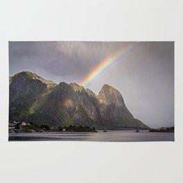 Mountain with rainbow Rug