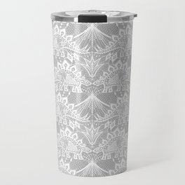 Stegosaurus Lace - White / Silver Travel Mug