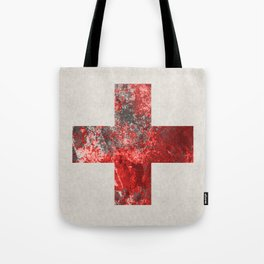 Medic - Abstract Medical Cross In Red And Black Tote Bag