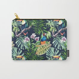 A realistic watercolor seamless large pattern of tropical leaves, flowers and birds Carry-All Pouch