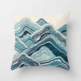 Blue Hike Throw Pillow