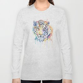 Tiger - Rainbow Tiger - Colorful Watercolor Painting Long Sleeve T-shirt
