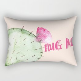 Hug me- Cactus and typography and watercolor Rectangular Pillow