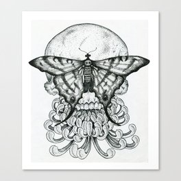 Butterfly Skull With Peony Canvas Print