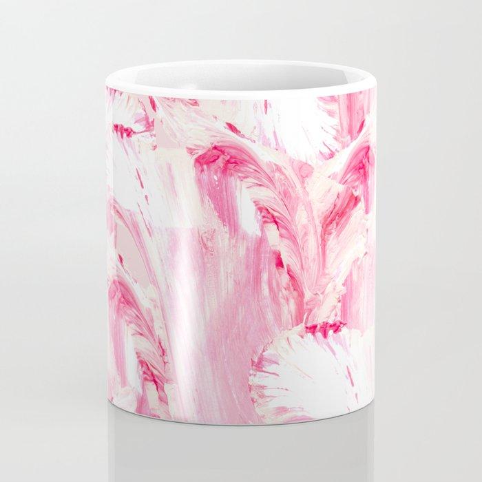 Artsy Girly Pink Coral Abstract Floral Painting Coffee Mug
