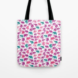 Watercolor Elephant Stampede Pretty Pattern Tote Bag