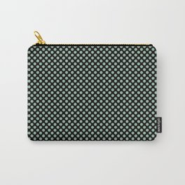 Black and Grayed Jade Polka Dots Carry-All Pouch