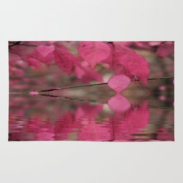 Red Autumn Leaf Reflections Rug