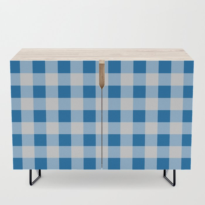 Blue And White Buffalo Check Credenza By Lovelylifestyle
