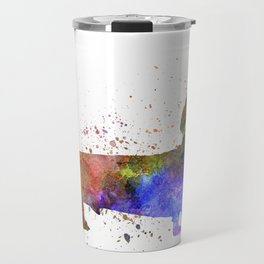 Short Haired Dachshund 01 in watercolor Travel Mug