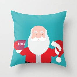 Have a A delightful cup of Christmas with Santa Claus Throw Pillow