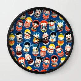 Babushka dolls vibrant pattern Wall Clock