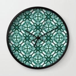Watercolor Green Tile 3 Wall Clock
