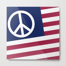 Peace and Love USA Flag Metal Print