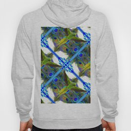 ART NOUVEAU FLYING GREEN PARROT  PEACOCK FEATHER WHITE ART Hoody