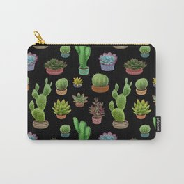 Potted cacti and succulents on black background Carry-All Pouch