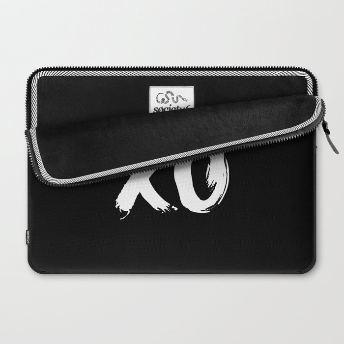 XO Hugs and Kisses white and black gift for her girlfriend xoxo bedroom art and home room wall decor Laptop Sleeve