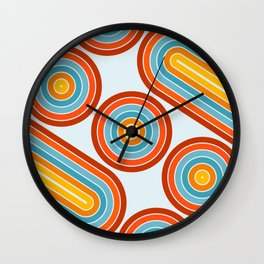 Retro Motion 2 – Orange / Yellow / Blue Abstract Stripe Pattern Wall Clock
