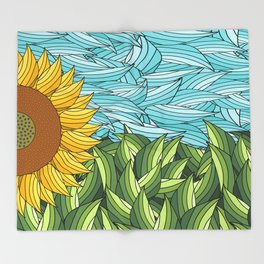 SUNNY DAY (abstract flowers) Throw Blanket