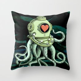 octopus diver in love Throw Pillow