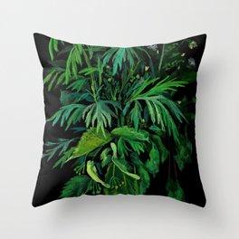 Green & Black, summer greenery Throw Pillow