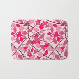 Ginkgo Leaves in Vibrant Hot Pink Tones Bath Mat