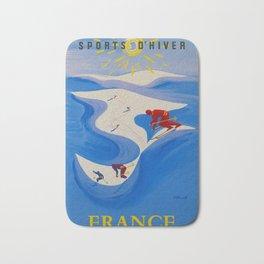 Vintage Winter Sports in France Travel Bath Mat