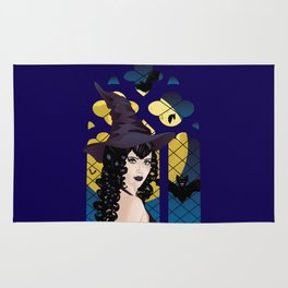 Black witch and window Rug
