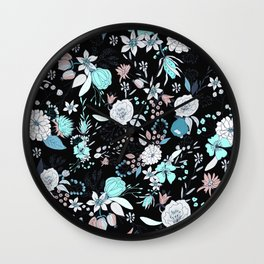 Abstract teal white black country modern floral Wall Clock
