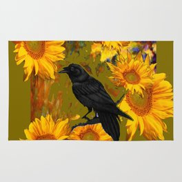 CROW & SUNFLOWERS KHAKI ART Rug
